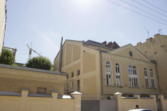 Вид на синагогу з вулиці Міхновських. Фото 2015 року