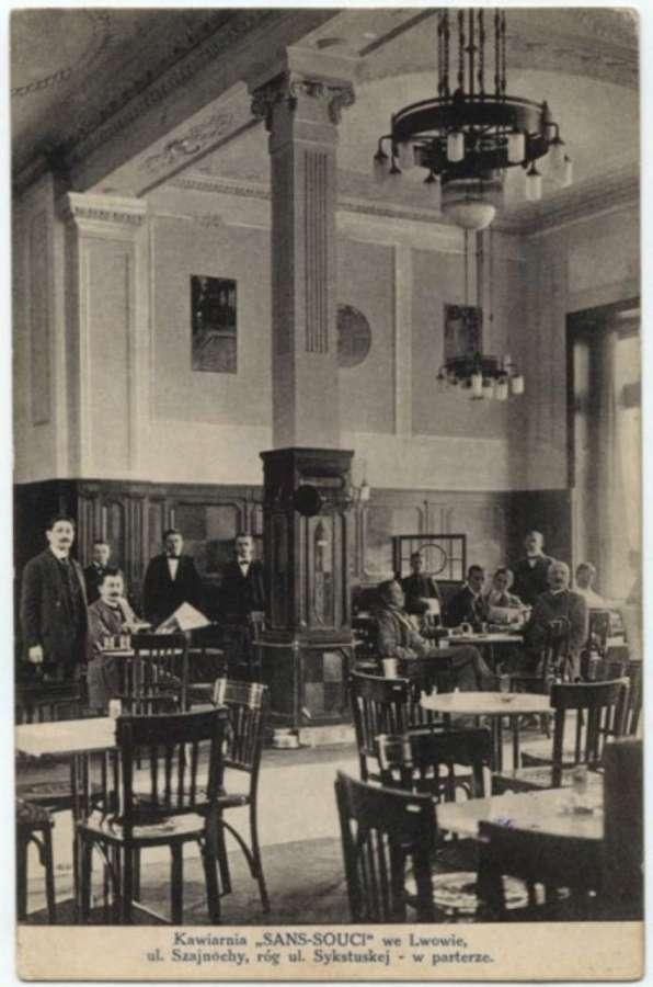 """Ресторація """"Сан-Сусі"""" на Шайнохи. Поштівка початку XX сторіччя"""