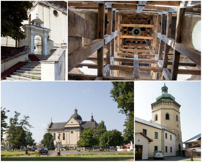 Костел Святого Лаврентія і вежа-дзвіниця в самому серці Жовкви
