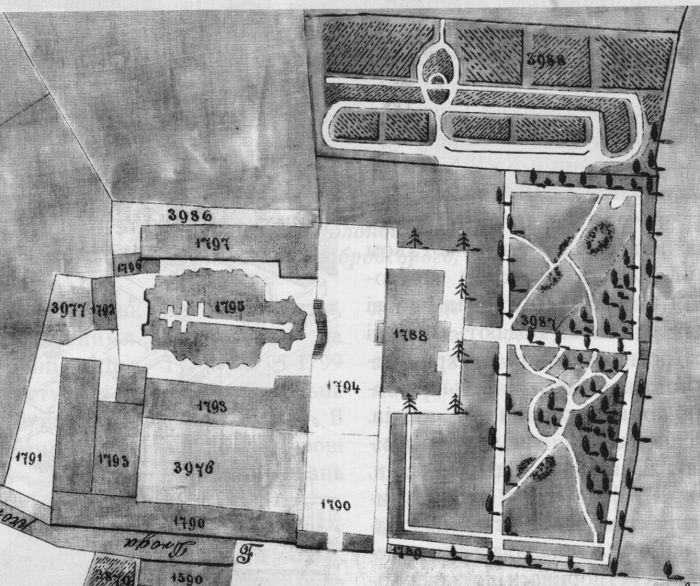 Святоюрський сад на плані 1857 року