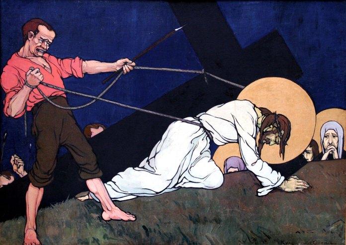 Христос паде під тягарем хреста/ Із циклу «Страсті Христові». 1915 р. Полотно, олія.