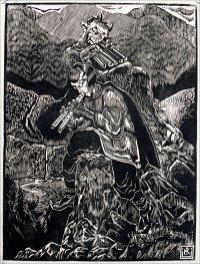 Мелодія гір/Із циклу «Легенди гір і лісів». 1936 р. Папір, дереворит.