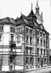 Будинок товариства Дністер. Загальний вигляд. Малюнок