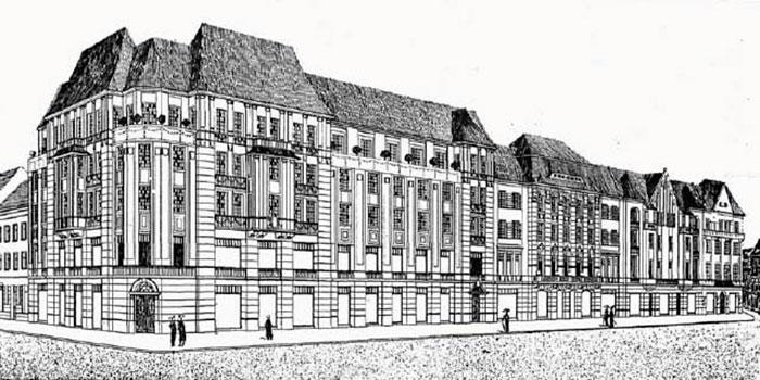 """Проект комплексу будівель готелю """"Краківський"""" Ф. Ліблінга. 1911p"""