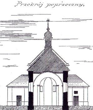 Костел Св. Івана Хрестителя. Поперечний перетин. Я. Сас-Зубрицький, 1885 рік