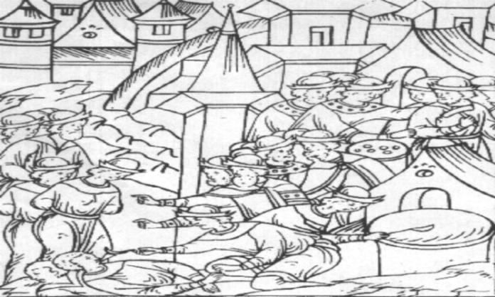 Кара фальшивомонетників в Московії (їм заливають до рота розплавлений метал), мініатюра XVI ст.