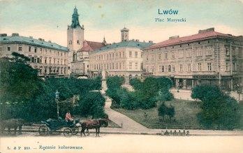 Марійська площа у Львові, вигляд до 1904 року (листівка 1903-1906 року)