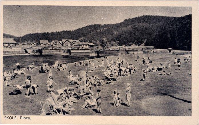 Сколе, пляж, листівка до 1939 року