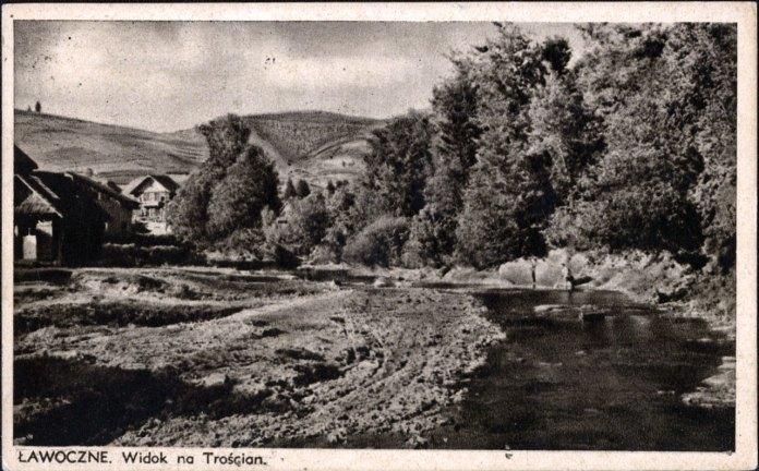 Лавочне, вигляд на гору Тростян, листівка 1923-1939 років