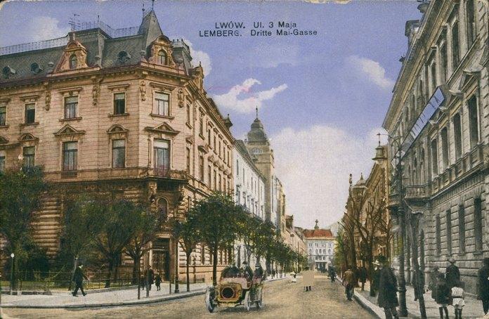 Львів, вигляд на вулицю Січових Стрільців, поштівка, 1916 рік.
