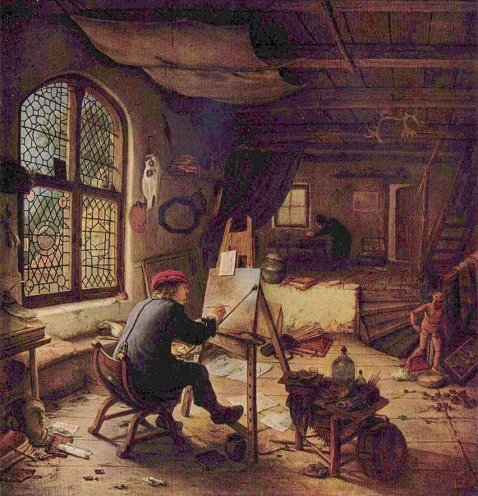 Адріан ван Остаде. Майстерня художника, 1663 рік