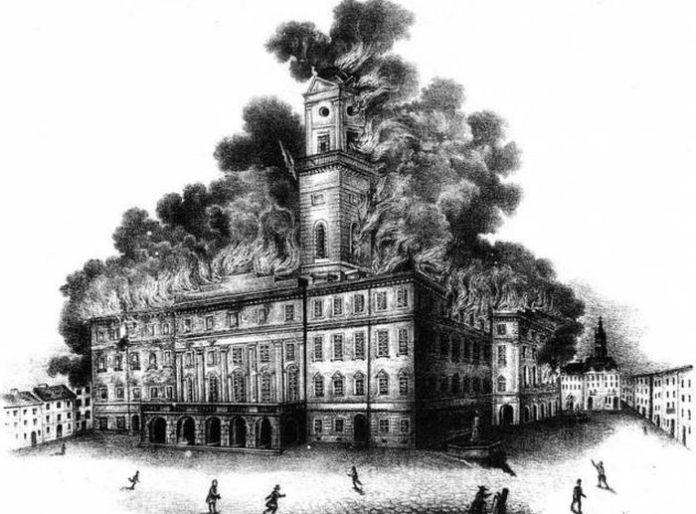 Пожежа у Львові в 1848 році, літографія Й. Риделя.