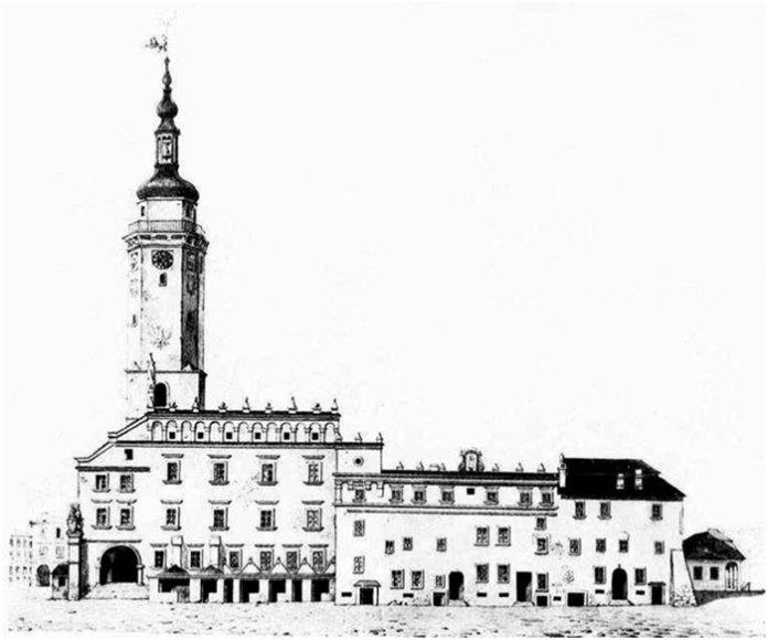 Ратуша перед 1826 роком. Малюнок ЄжиГлоговського (колись тут перебували в'язні)