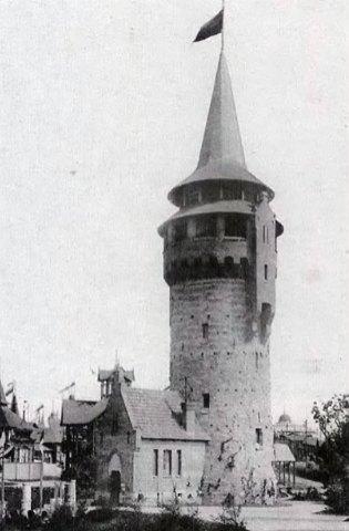 Водонапірна вежа під час Крайової виставки 1894 року в Стрийському парку. Фото 1894 року. Автор: Едвард Тшемескі