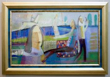 Експозиція виставки живопису на склі Романа Опалинського