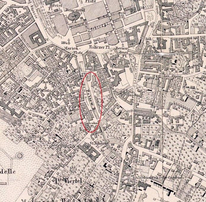 Ріка Полтва на місці сучасної алеї на проспекті Шевченка. План Львова 1878 року.