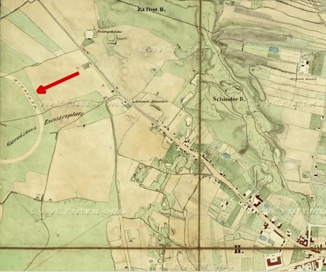 План міста Львова 1844 року. Стрілкою вказано на іподром.