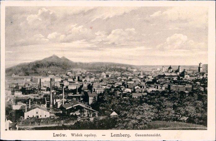 Панорама Львова з Гори Страт, за деревами простягається вулиця Клепарівська, 1915 рік