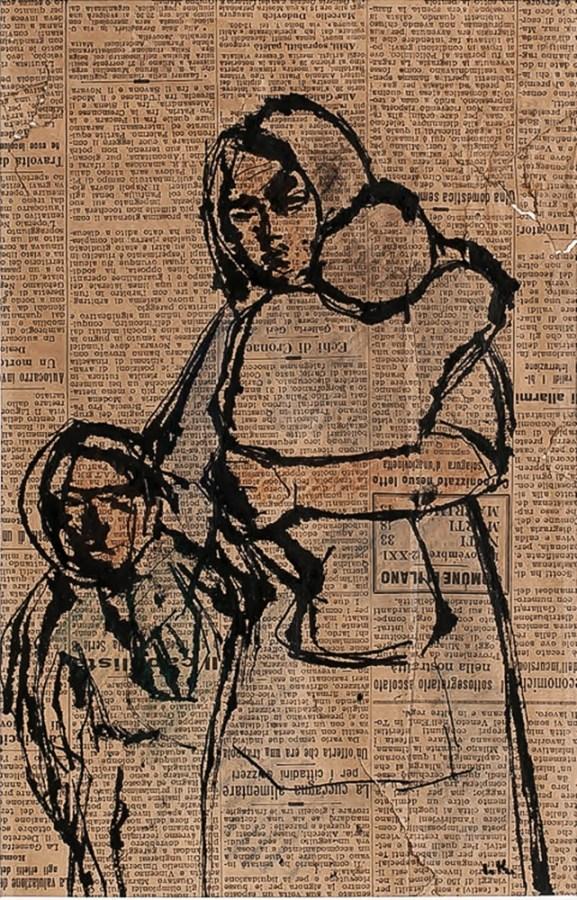 Для створення своїх картин під час війни митець використовував усі підручні матеріали, навіть газети. Фото з сайту svitua.org