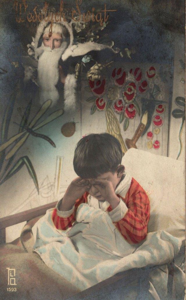 """Листівка з зображенням Святого Миколая і текстом """"Веселих Свят"""", 1933 рік"""