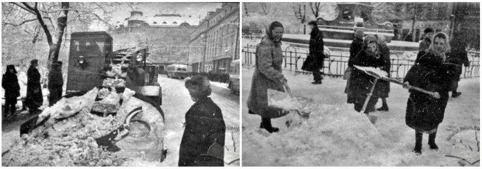 Прибирання снігу на проспекті Леніна (Свободи) в радянський час. Фотографії 1960-х рр.