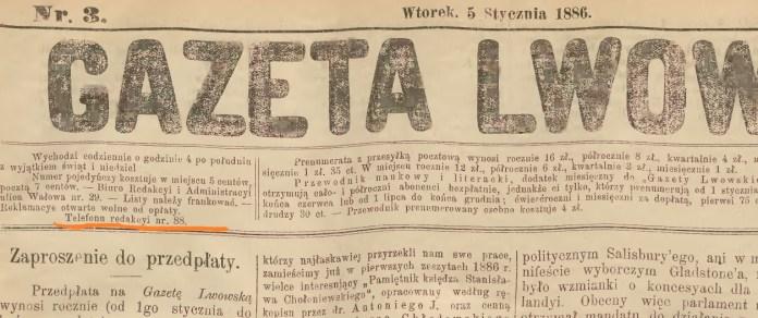 Титульна сторінка «Газети Львівської» («Gazeta Lwowska») за 5 січня 1886 року з номером телефону редакції