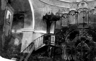 Церква Успіння Пресвятої Богородиці: інтер'єр до виконання стiнопису. Свiтлина 1900-их рокiв