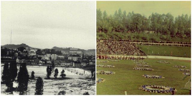 Територія до облаштування на ній стадіону та власне стадіон Юність у Парку культури. Фото 1950-1960 рр.