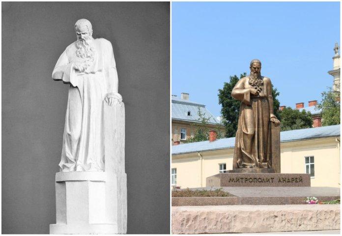 Макет Андрія Коверка та сучасний пам'ятник Андрею Шептицькому. Сучасне фото