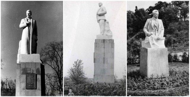 Пам'ятники Сталіну, Леніну та Галану біля центральної алеї в Парку культури. Фото 1950-х років