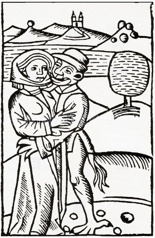 Диявол спокушає відьму. Гравюра 1489 року.