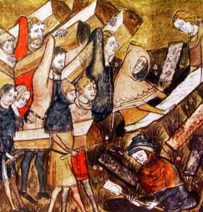 Поховання жертв чуми. Ілюстрація з хроніки ХІІІ - XIV століть. Фото з birkbecklibrary.blogspot.com
