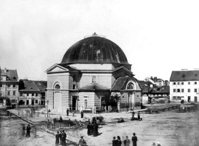 """Реформістська синагога """"Темпль"""" у Львові на площі Старий Ринок. Фото 1863 року"""