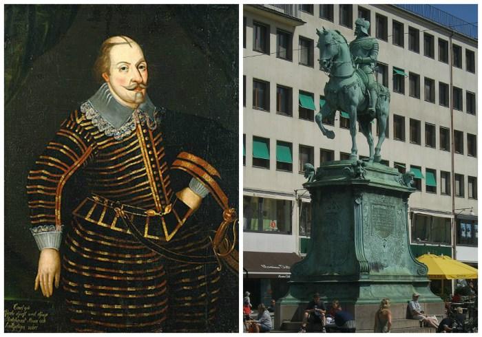 Карл Зедерманландський, він же Карл ІХ, король Швеції у 1604 - 1611 роках. Пам'ятник Карлу ІХ у Гетеборзі