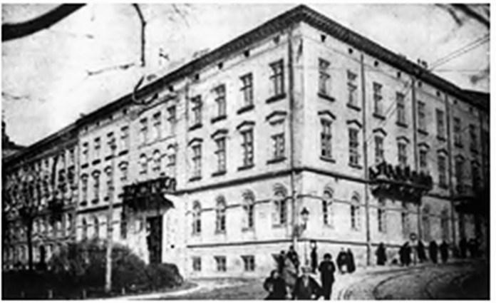 Будинок НТШ на розі сучасних вулиць Винниченка та Лисенка, фото початку XX ст.