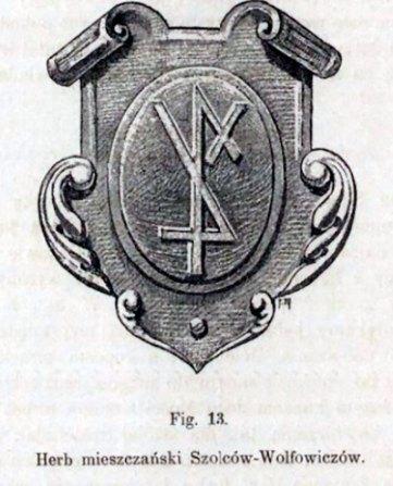 Герб Шольц-Вольфовичів (джерело ілюстрації – Лозинський В. «Патриціат і львівське міщанство XVI –XVII ст.»)