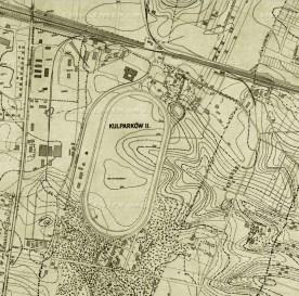 Мапа 1936 року на котрій позначено другий іподром на Персенківці та костел кармелітів босих