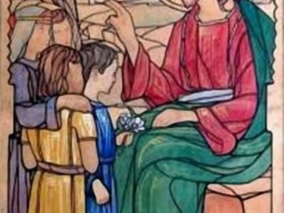 Христос благословляє дітей. Розпис церкви в селі Підберізці.