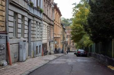 Сучасний вигляд вул. Кобилянської, на котрій містилась Крайова лісна Школа. Сучасне фото
