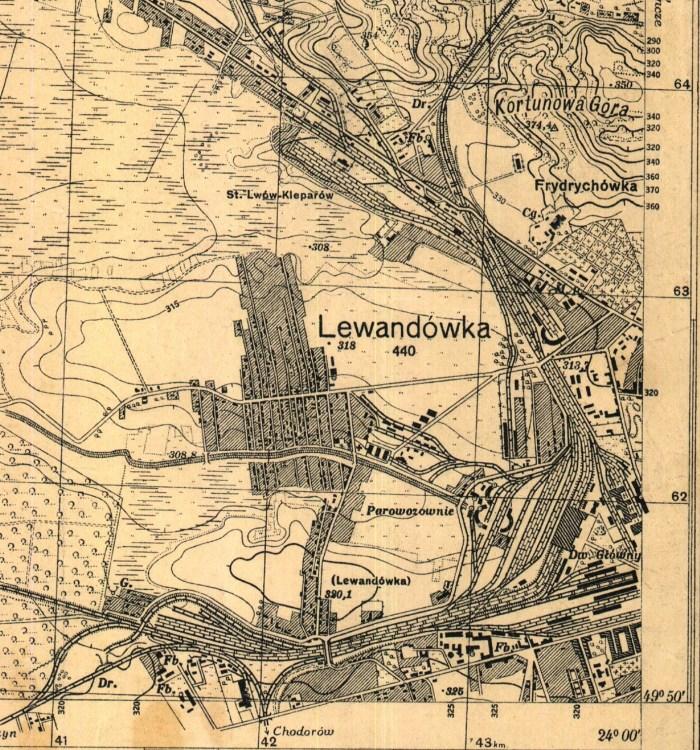 Левандівка на час її приєднання до Львова. Мапа 1931 року