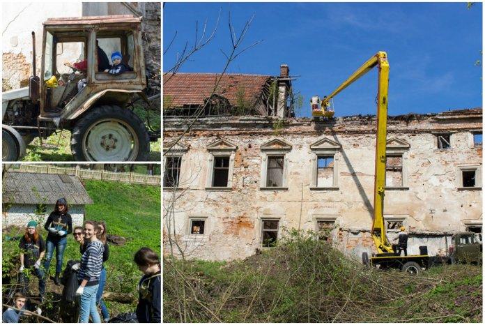 Як волонтери прибирали територію Поморянського замку