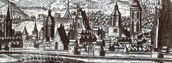 Високий мур з вежами на фрагменті панорами Гогенберга 1608 р.