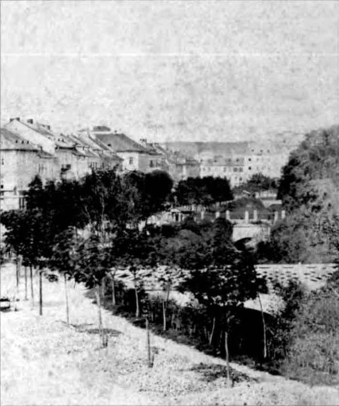 Фрагмент світлини проспекту Свободи, на котрому помітно мости через Полтву. Фото 1870-х рр.