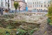 Розкопки на місці кам'яниць 6-12 на вул. Краківській. Сучасне фото