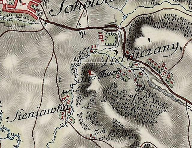 Вежа в П'ятничанахна мапі Фрідріха фон Міга, 1779-1782 (взято з http://forum.zamki-kreposti.com.ua/)