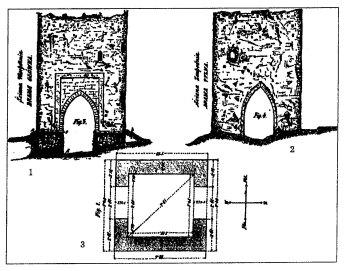 П'ятничанська вежа. Графічне зображення за Б.Густавичем. 1 - вигляд зі сходу; 2 - вигляд із заходу; 3 - розміри основи вежі