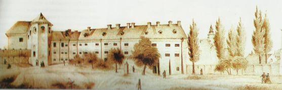 """В'язниця """"Кармелітка"""" в монастирі кармелітів взутих. Малюнок Л.Скшишевського, 1863 рік"""