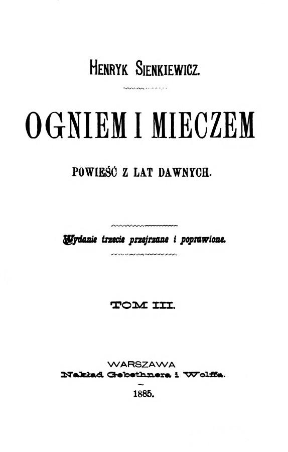 """Титульна сторінка праці """"Ogniem i mieczem"""". Фото з www.wikiwand.com"""