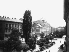 Бульвар проспекту Шевченка, створений Рерінгом після засклепіння Полтви. Фото кінця XIX - поч. XX ст.