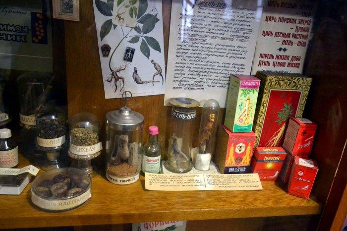 Старовинні зразки жень-шеню в аптеці (фото Тетяна Жернова, 2016р)